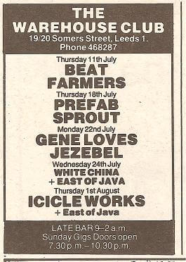 Leeds Warehouse – July 18th 1985