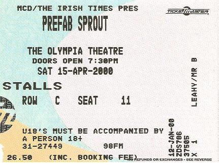 Who does not adore the sound? Dublin Olympia – April 15th 2000