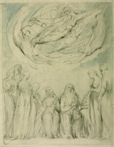 Every Man also Gave him a Piece of Money. Verso: God the Father with Attendant Angels c.1821-3 by William Blake 1757-1827