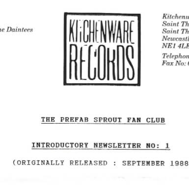 The Official Prefab Sprout Fan Club Newsletter