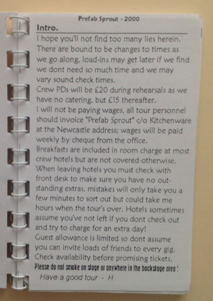 Introduction and hotel warnings from Harry, the tour manager