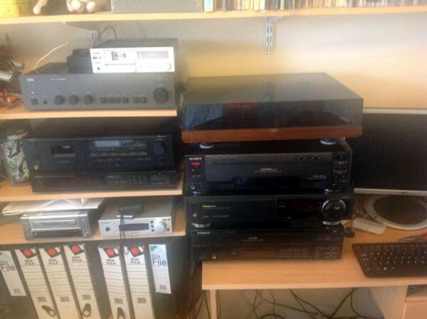 If I'm completely honest, most of the reason for doing this is that it gives me a brilliant reason to own obsolete audio/visual equipment. The stack to the right includes 2 videodisc players, a Pioneer which is great for images, and a battered Sony which has an SPDIF output for audio. A great Panasonic SVHS for video transfers, plus a Rega Planar 2 deck. Then NAD amp, Nakamichi cassette deck, an ex BBC minidisc player, crappy digital radio, and a lovely little microcassette player. Everything ends up going through the PC on the right where I do restoration work on digitised material. The Audio/Visual part of the collection in digitised form is getting on for 200gigabytes now.